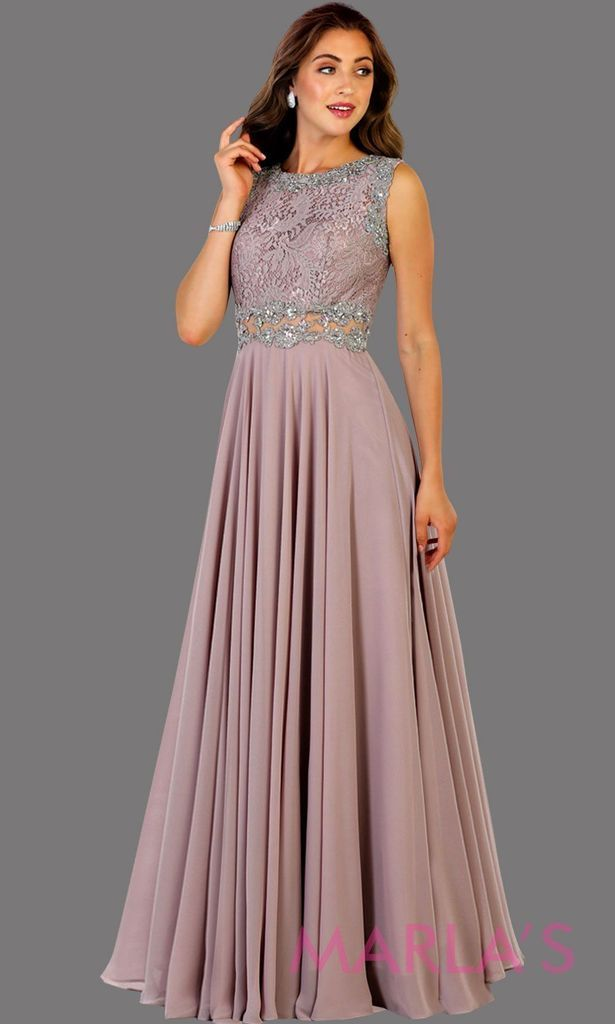 691d181ac8e Long flowy mocha high neck lace party dress with see thru waist. Perfect  for modest prom dress