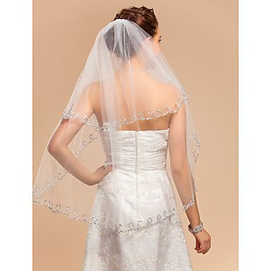 Elegant Two-tier Elbow Wedding Veil With Applique Edge - USD $ 17.99