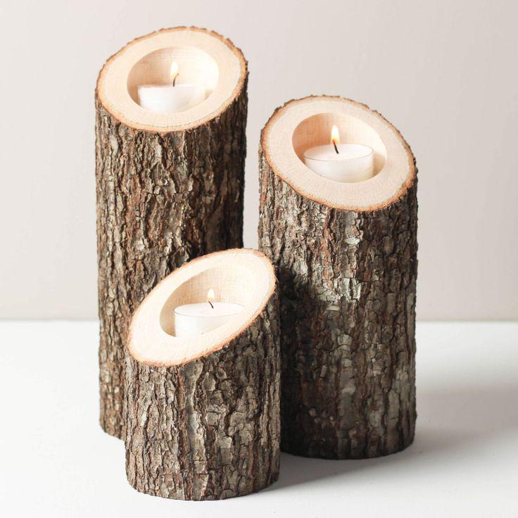 3-Pc. Tree Bark Tealight Holders//