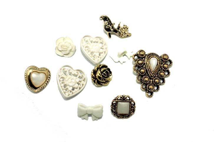 Button Fashion guziki plastikowe w kolorze perłowym i złotym