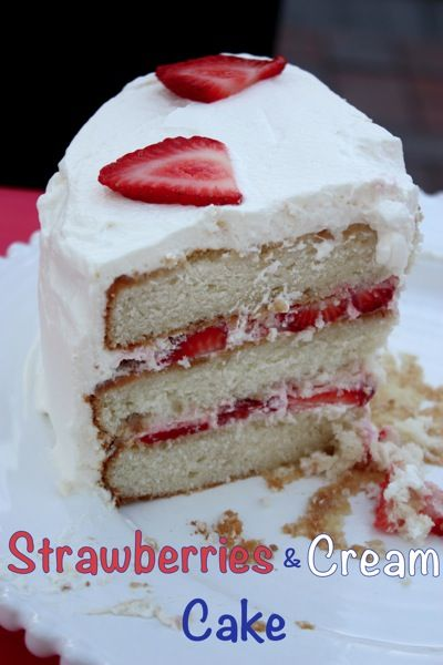 Strawberries & Cream Cake - a family favorite dessert filled with juicy berries and homemade whipped cream! | cupcakesandkalechips.com