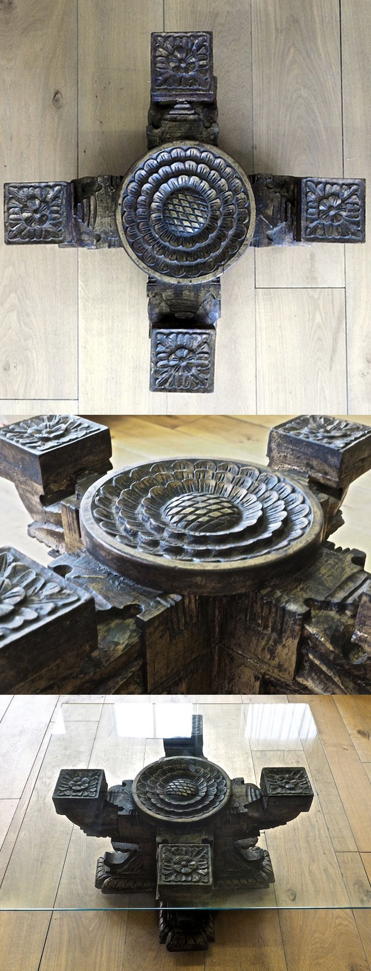 This heavily carved wooden table is from South India. Complete with glass top. http://bringingitallbackhome.co.uk/shop/south-indian-carved-wooden-coffee-table/