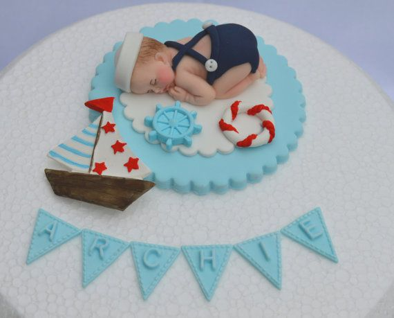Personalised edible baby sailor boy with by BeachBabyEdibleArt