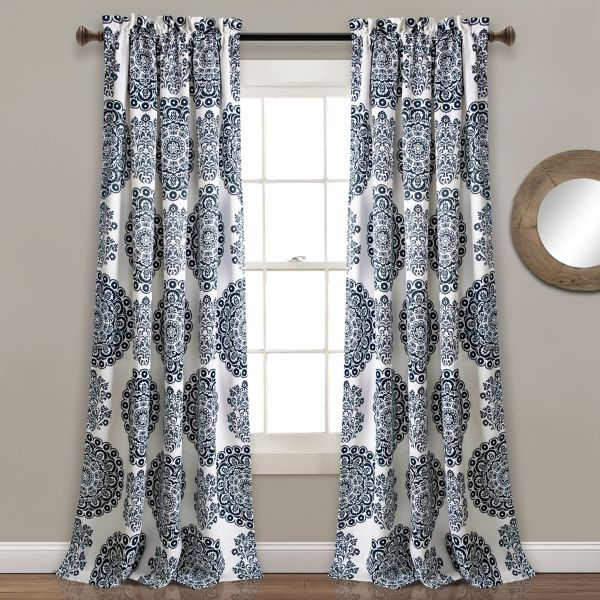 navy evie medallion curtain panel set