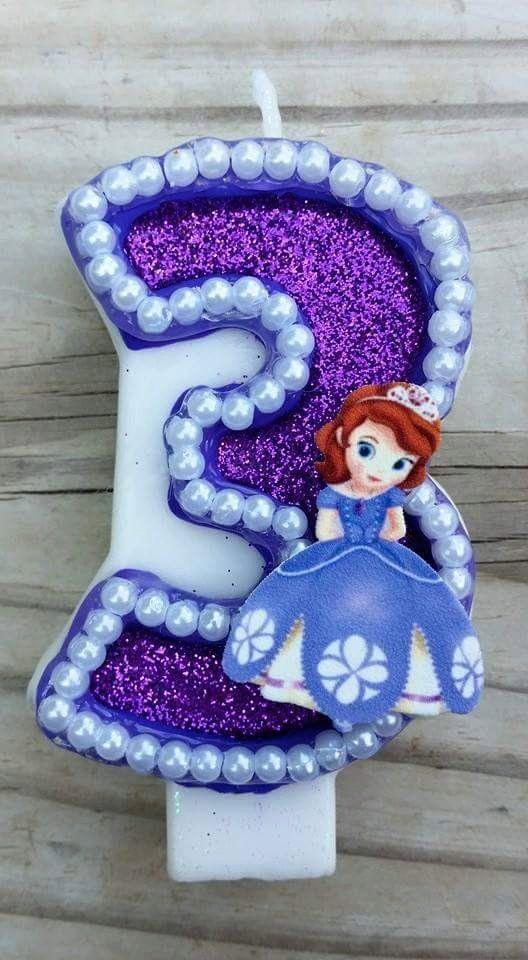 Sofia the First Birthday Candle by LilMonkeyStitchesWV on Etsy