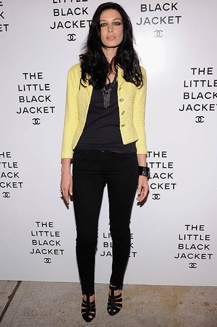 Jessica Paré, aka Megan Draper, is snapped wearing a Chanel Resort 2012 jacket at Chanel's The Little Black Jacket event at Swiss Institute on June 6, 2012 in New York City.