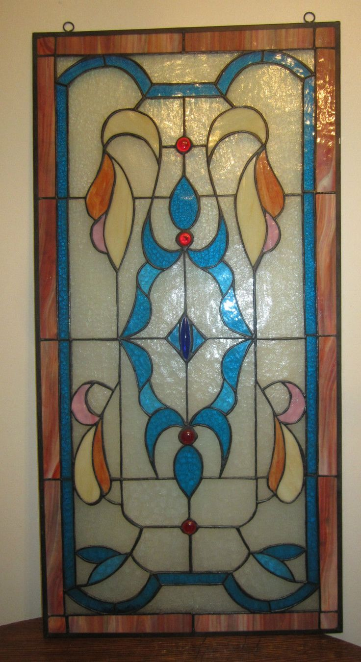 Antique stained glass doors - Antique Huge Art Deco Handmade Colored Stain Stained Glass Stylized Window Door Ebay
