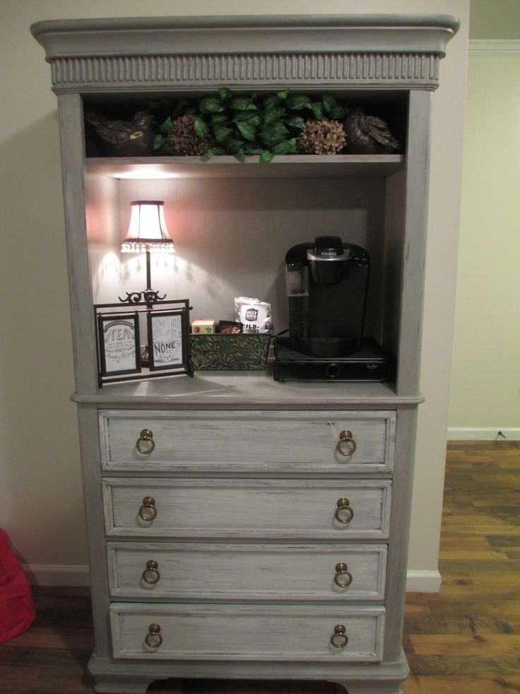 Coffee Bar Old Armoire Is Now An Adorable Shabby Chic Coffee Bar Diy Coffee Station Ideas