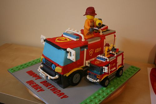 Cake & Lego Fire Truck Comparison III by Tama Leaver, via Flickr