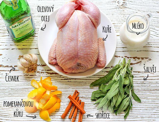 suroviny-Pečené kuře v mléce