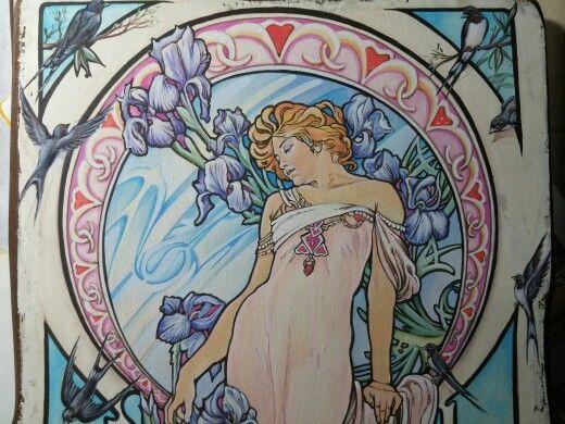 """"""" Iris in terrazza sul Tirreno """" ( only for you ) Acrilici su legno  cm 30 x40 - particolare Ispirazione ed omaggio ad A.Mucha"""