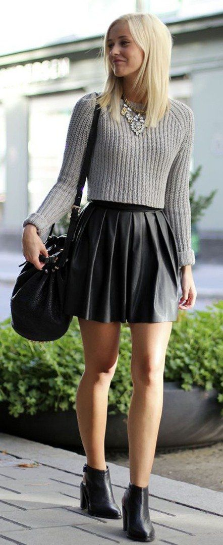 Black leather skirt + sweater + statement necklace