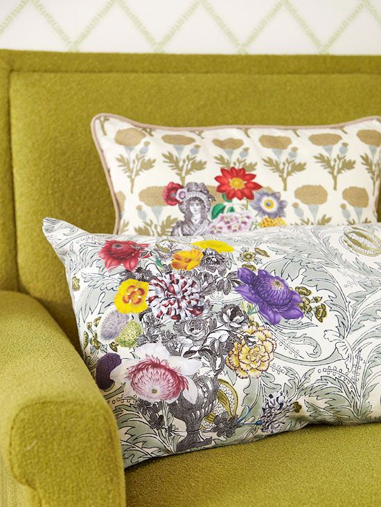 An iron-on applique adds whimisical style to this ornate pillow. More decoupage home projects: http://www.bhg.com/decorating/do-it-yourself/fabric-paper-projects/decoupage-home-decor-projects/?socsrc=bhgpin071812decoupagepillow#page=11