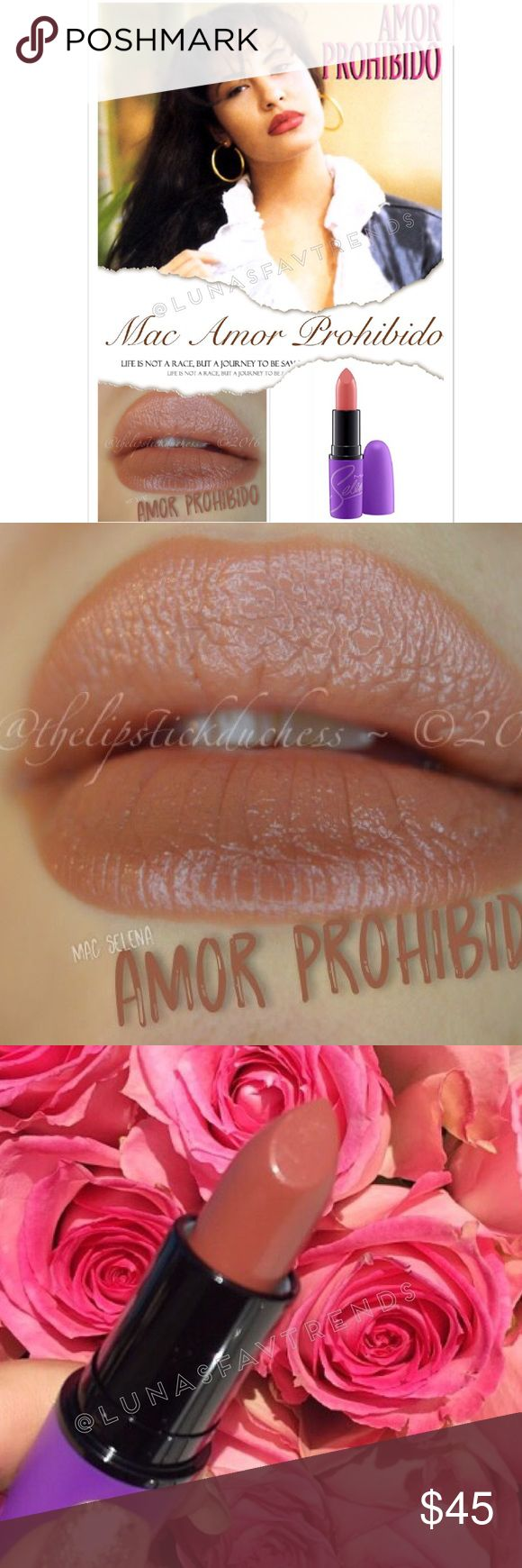 "💄MAC SELENA AMOR PROHIBIDO LIPSTICK💄 🚫NO TRADES🚫PRICE IS FIRM✅SOLD OUT ONLINE    This item comes brand new in its original packaging, never used. This was part of the limited edition collection MAC Cosmetics released in memory of iconic singer Selena. This collection sold out extremely quickly and is highly sought after.   ""Amor Prohibido"" is a pinky midtone brown with a glaze (shiny) finish.   Guaranteed 100% authentic! MAC Cosmetics Makeup Lipstick"