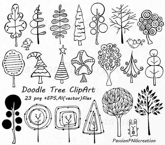 Doodle Trees Clipart, Hand drawn tree clip art, Digital tree, Whimsical Tree, PNG, EPS, AI, vector clipart, For Personal and Commercial use
