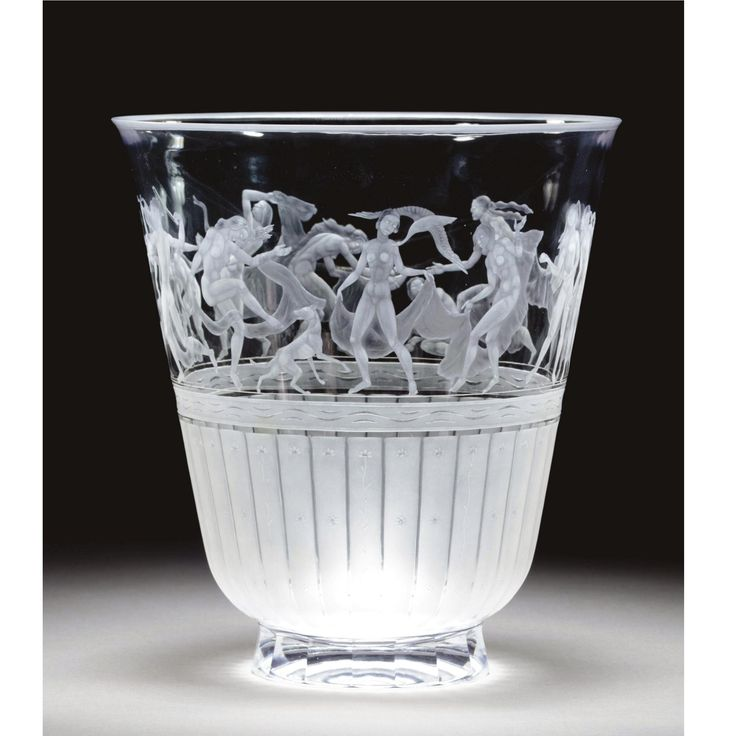 ** Simon Gate, Orrefors engraved glass vase.                                                                                                                                                     More