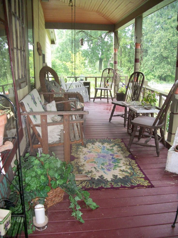 91 best primitive porches images on pinterest cottage for Country style porch