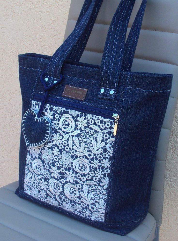 Beautiful denim jeans tote with lace #handmadebag