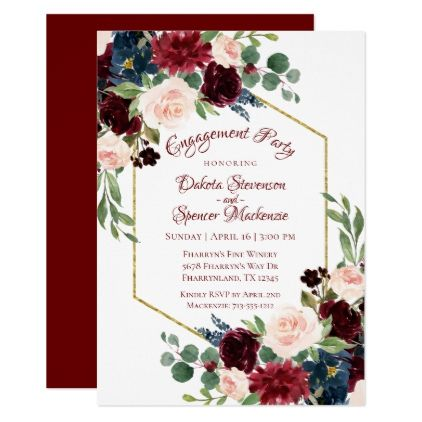 #Blooming Brilliant | Floral Boho-Verlobungsfeier-Karte – #engagement #party eng …
