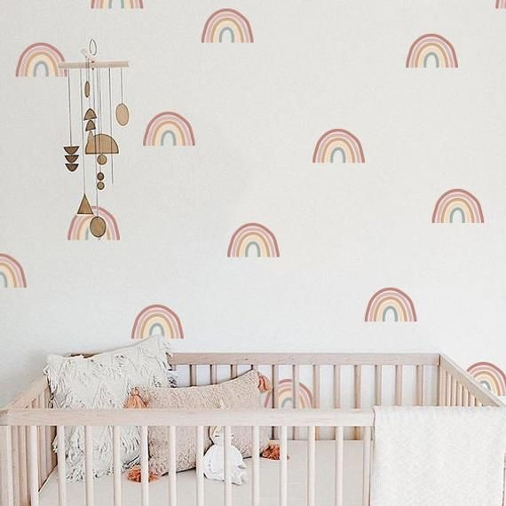 Rainbow Wall Decals Hand Drawn Rainbow Wall Sticker Boho