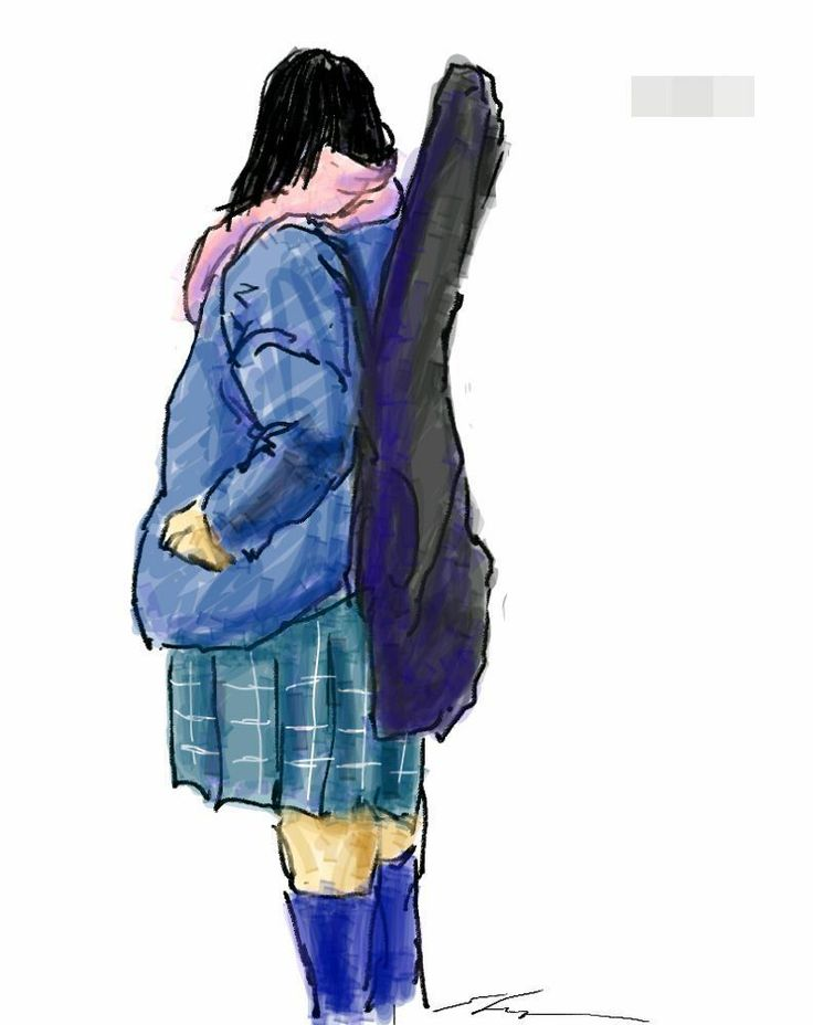It is a sketch of a high school girl with a guitar.  I drew while commuting on a train with the GALAXY Note.