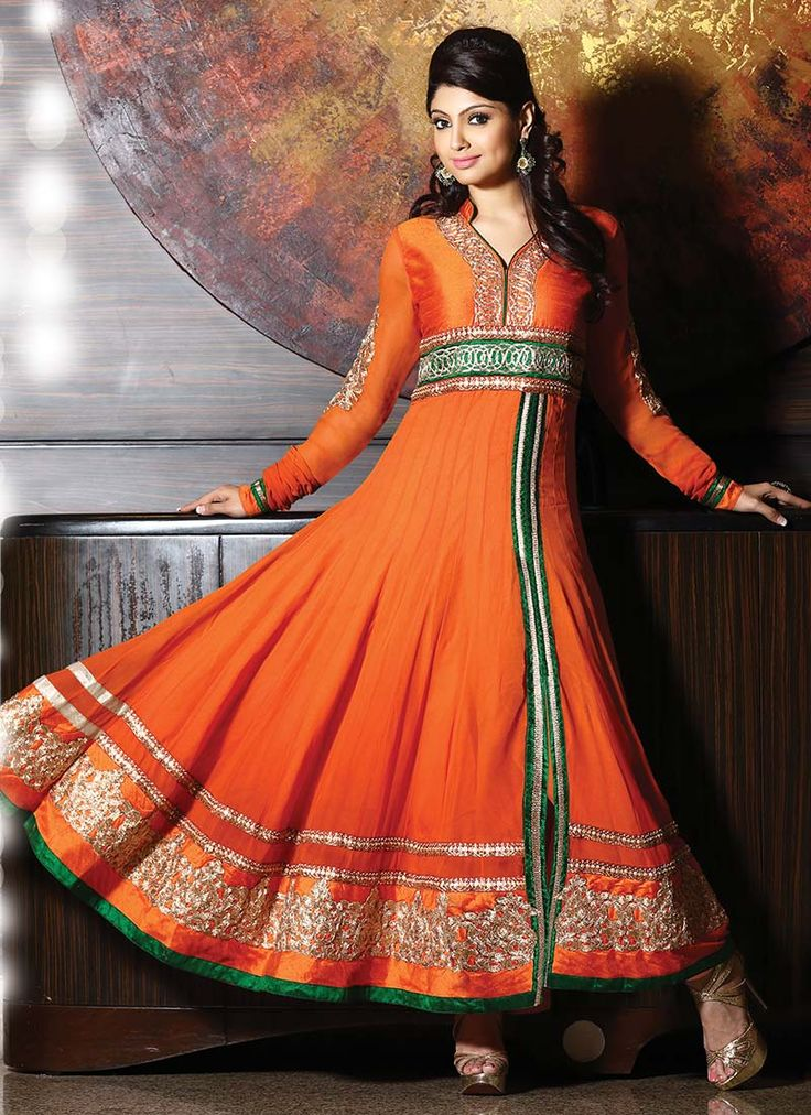 Opulent Orange Georgette Anarkali Suit