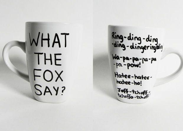 What the fox say? - funny mug // hand-drawn/written