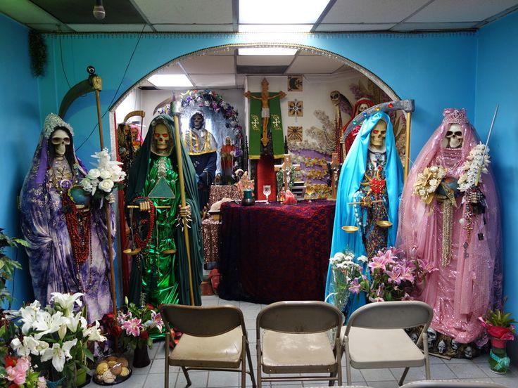 The main altar – Templo Santa Muerte, Hollywood, CA (source: http://www.atlasobscura.com/articles/visit-to-templo-santa-muerte): See more from digital hoarder Monsieur EZ~Beat! @ https://www.pinterest.com/jeffreypaulsimo/