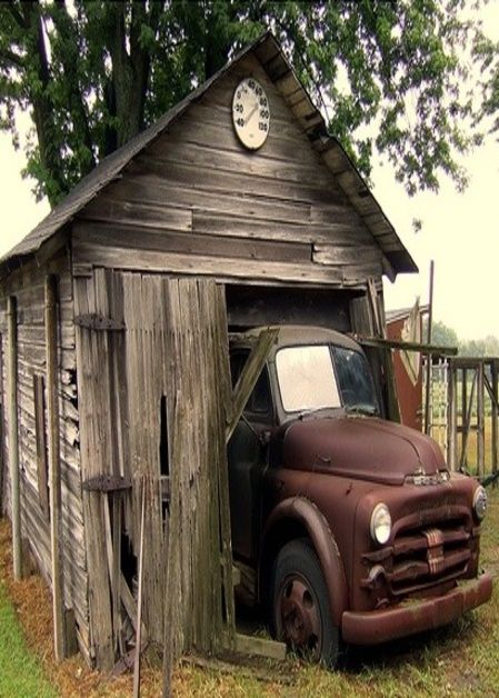 Reminds me of my grandfather's garage on the ranch, altho it did have more room, but was just as primitive.