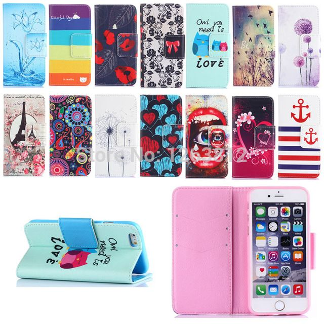 I6 cover For Apple iPhone 6 6S Flip PU Leather Case Cartoon Flower Stand Holders Phone Cases Shell Cover for iphone 6s