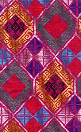 Yakan Tapestry This design is derived from the tubular fabric (malong) that the Yakan women from Basilan wear. The diamond patterning is very distinctive for the Yakan tribe.