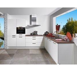 Complete keuken type Manhattan bestaande uit:brede ladekast, hoge vooraadkast, kunststof houtlook werkblad, Bosch combi, Bosch gaskookplaat, Bosch koeler, Bosch vaatwasser en Bosch afzuigkap
