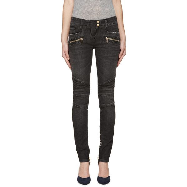 Balmain Black Skinny Biker Jeans ($1,100) ❤ liked on Polyvore featuring jeans, cuffing skinny jeans, cuffed skinny jeans, black jeans, skinny jeans and ankle zipper jeans