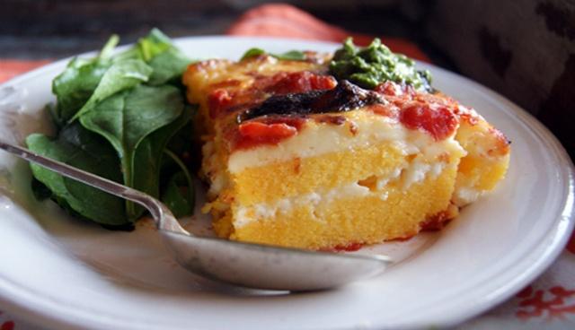 Polenta lasagne with pesto recipe: hello comfort food