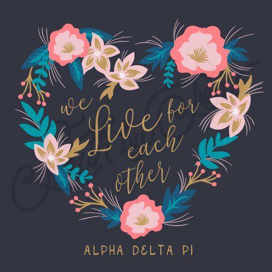 Sorority Recruitment Alpha Delta Pi Floral Wreath Heart South By Sea