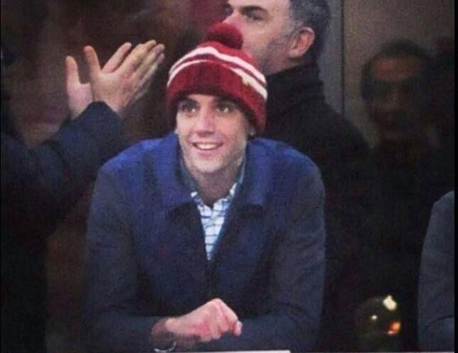 Mika at San Siro stadium watching the football match Milan vs Udinese (nov 30th, 2014)