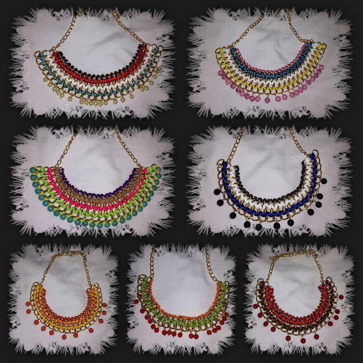 Hermosos collares de moda de cadenas tejidos con cintas