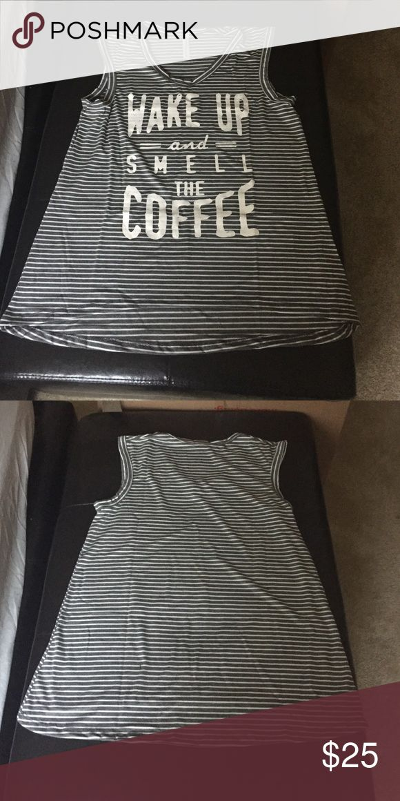 Wake up and smell the coffee Graphic Tank Top New with tags Yuni Los Angeles Tops Tank Tops