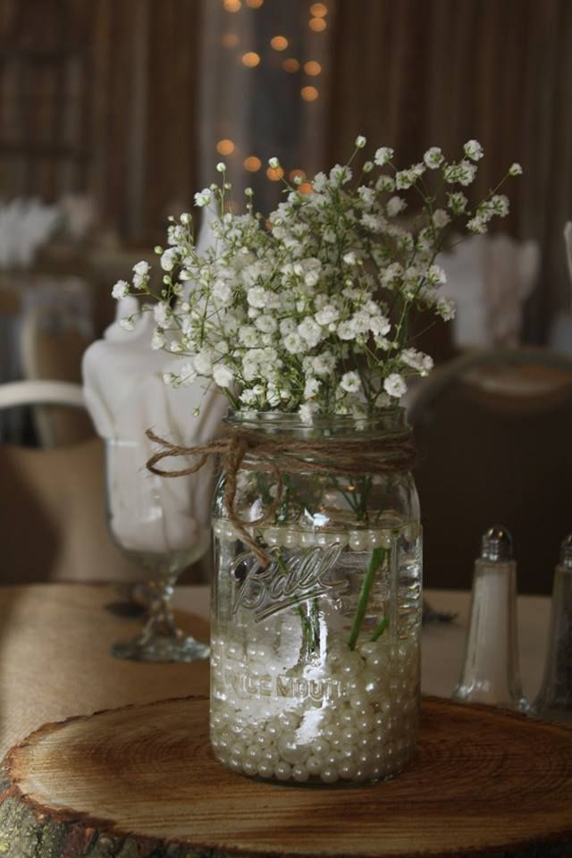 Baby breath centerpiece in Mason jar - rustic wedding