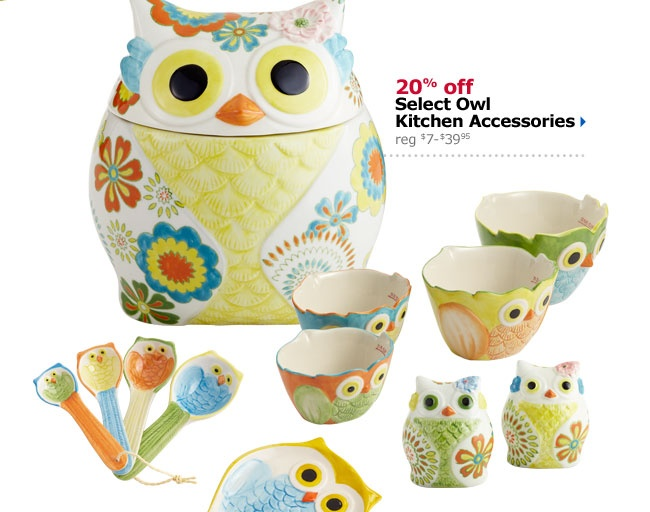Pier One For Kaitlin 20% Off Select Owl Kitchen Accessories