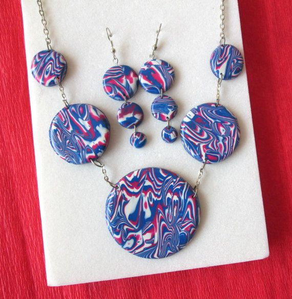 polymer clay jewelry set christmas gift for mom fashion style unique gifts  by FloralFantasyDreams