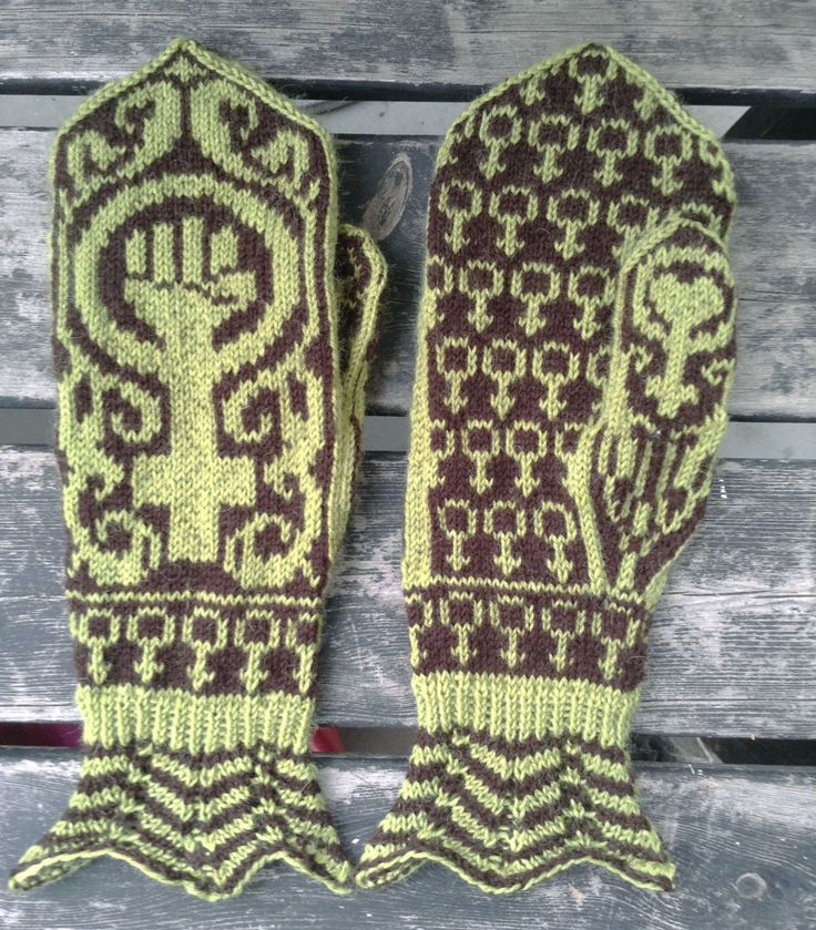 Hand knit feminist mittens Gudrun - light green/dark brown (480.00 SEK) by asfaltsflickandesign