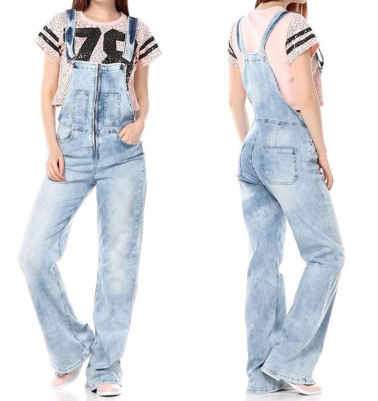 neu weite damen latzhose jeans hose relaxed boyfriend 38 40 42 m l xl overall latzhosen. Black Bedroom Furniture Sets. Home Design Ideas