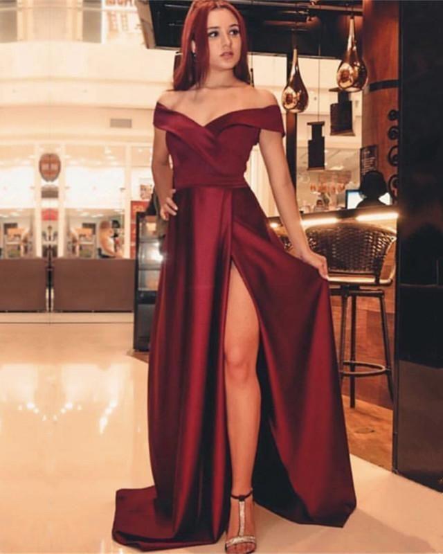 7f912f45f5232 Off-The-Shoulder V-neck Split Long Satin Prom Dresses 2019 by  maggiedresses, $139.19 USD | keddidesjdndsj:)evening party dresses | Prom  dresses, ...