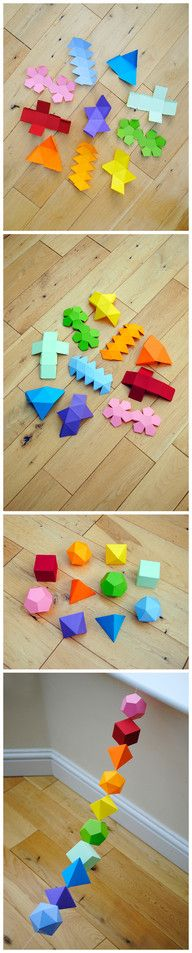 FREE templates for 3D geometry chain using origami. A great way to learn the names of 3D shapes. Also, folding and cutting is a great chance to talk about fractions. More here: http://www.minieco.co.uk/i-mathematics-platonic-solids-garland/