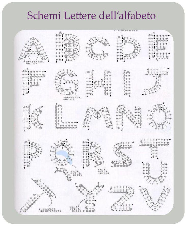 Schemi lettere dell'alfabeto per uncinetto.