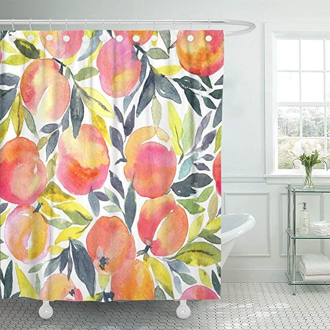 Amazon Com Emvency Shower Curtain Colorful Peach Bright With Hand