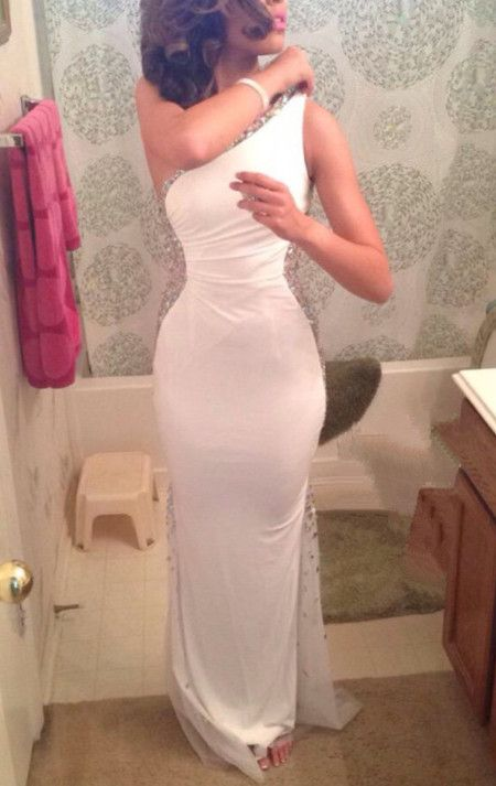 Pretty Elegant One Shoulder White Beadings Long Prom Gowns, Evening Gowns, Formal Gowns, White Prom Dresses,