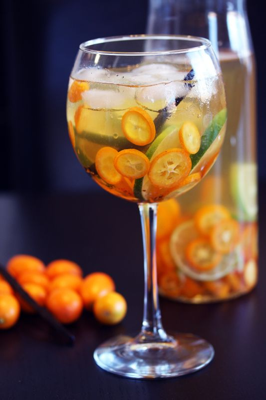 Kumquat Sangria 2 cups of kumquats sliced 2 limes sliced 1 vanilla bean cut in half 3 ounces of Grand Marnier 3 tablespoon of Agaves syrup or sugar 750ml bottle of white wine chilled