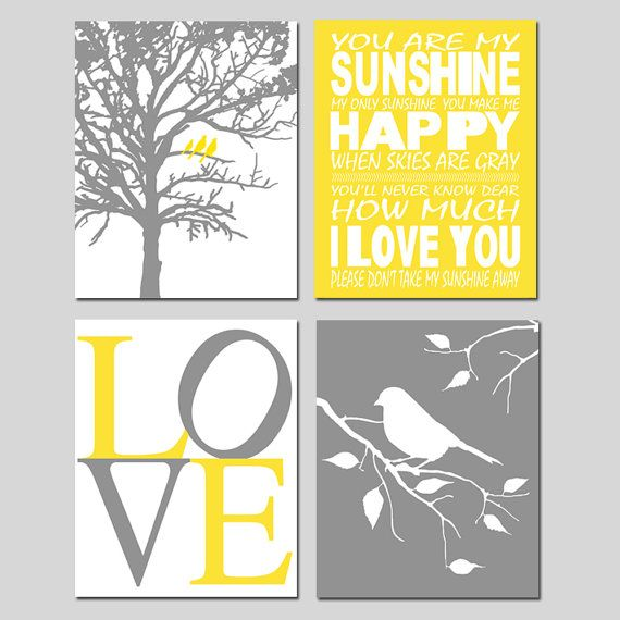 Yellow Gray Nursery Art Quad - You Are My Sunshine, LOVE, Birds in a Tree, Tree Dot, Dandelions, Bird on a Branch - Set of Four 5x7 Prints on Etsy, $38.00